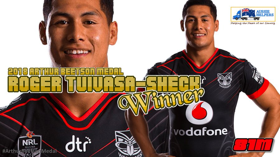 Tuivasa-Sheck holds off Fifita to win his first Arthur Beetson Medal