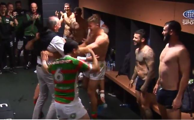 WATCH: Wayne Bennett celebrates with Rabbitohs after grudge match victory