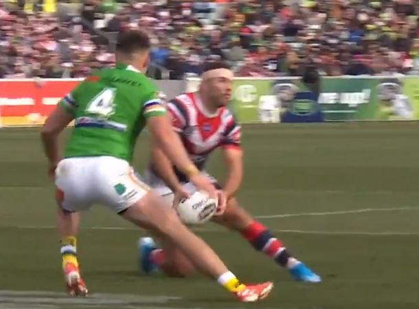 WATCH: Outrageous Tedesco pass sets up Roosters try