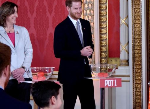 Prince Harry helps draw pools for Rugby League World Cup 2021 at Buckingham Palace