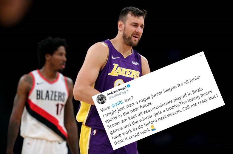 Aussie basketball legend Andrew Bogut throws shade at NRL over possible junior footy rule changes