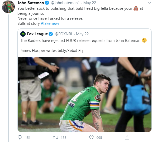 John Bateman massacres Fox Sports journalist James Hooper with one single tweet