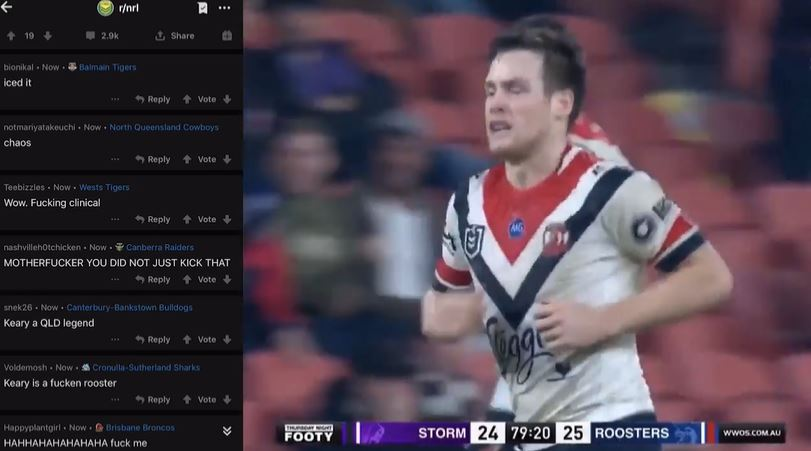WATCH: Fan reaction on Reddit goes mental to final minute of Storm versus Roosters classic